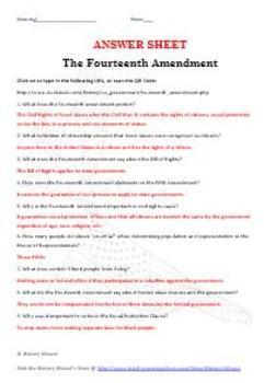 Fourteenth Amendment Internet Worksheet