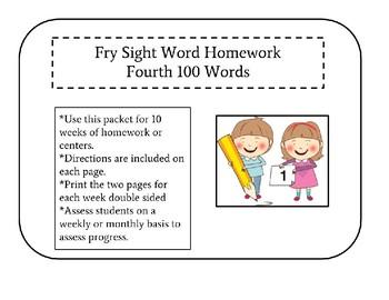 Fourth 100 Fry Sight Word Homework