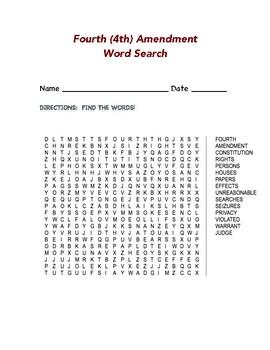 Fourth (4th) Amendment Word Search
