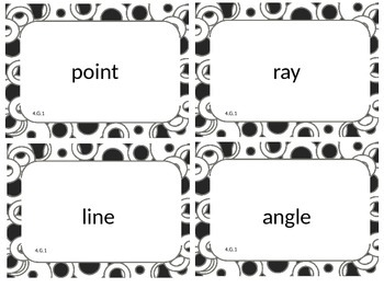 Fourth (4th) Grade Common Core Math Word Wall Cards 4.G.1