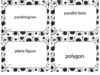 Fourth (4th) Grade Common Core Math Word Wall Cards 4.G.2 and 4.G.3