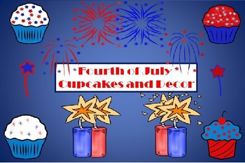 Fourth of July Festive Decor and  Cupcakes Clipart