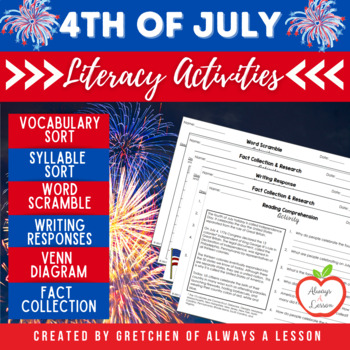 Fourth (4th) of July Literacy Task Cards