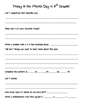 Fourth Day of 4th Grade worksheet