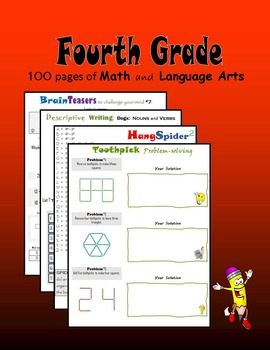 Fourth Grade:  100 pages of Math and Language Arts