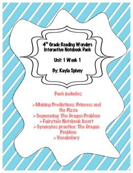 Fourth Grade (4th Grade) Reading Wonders Unit 1 Week 1 Interactive Notebook