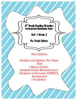 Fourth Grade (4th Grade) Reading Wonders Unit 1 Week 2 Int