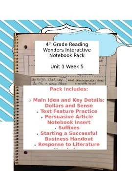 Fourth Grade (4th Grade) Reading Wonders Unit 1 Week 5 Interactive Notebook