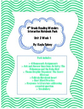 Fourth Grade (4th Grade) Reading Wonders Unit 2 Week 1 Interactive Notebook