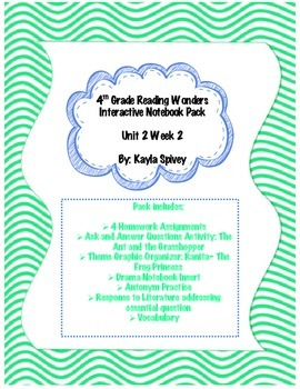 Fourth Grade (4th Grade) Reading Wonders Unit 2 Week 2 Interactive Notebook