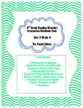 Fourth Grade (4th Grade) Reading Wonders Unit 2 Week 4 Interactive Notebook