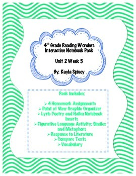 Fourth Grade (4th Grade) Reading Wonders Unit 2 Week 5 Interactive Notebook