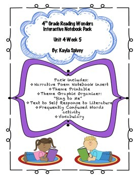 Fourth Grade (4th Grade) Reading Wonders Unit 4 Week 5 Interactive Notebook
