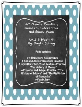 Fourth Grade (4th Grade) Reading Wonders Unit 6 Week 4 Interactive Notebook