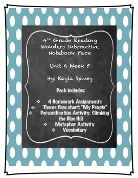 Fourth Grade (4th Grade) Reading Wonders Unit 6 Week 5 Interactive Notebook