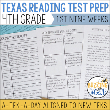 Fourth Grade A TEK-a-Day Reading Test Prep & Review, 1st Nine Weeks