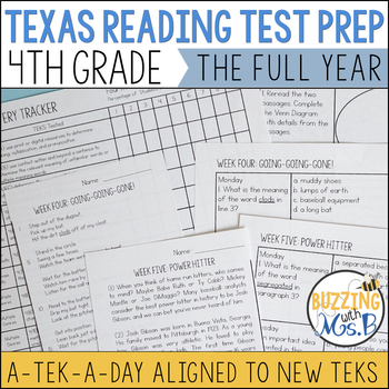 Fourth Grade A TEK-a-Day Reading Test Prep & Review: The Big Bundle