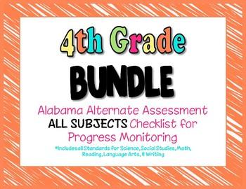 Fourth Grade  AAA ALL SUBJECTS BUNDLE Checklist Progress Monitoring