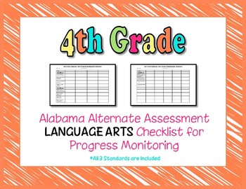 Fourth Grade AAA Language Arts Checklist Progress Monitoring