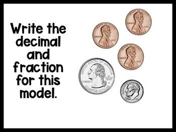 Fourth Grade Aligned Decimals Tenths & Hundredths Fraction Concrete Models