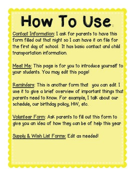 Fourth Grade Back to School Forms: Can Edit!