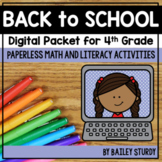 Fourth Grade Back to School Math and Literacy Digital Packet