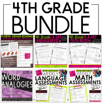 Fourth Grade Bundle: Language, Grammar, Math, and Reading