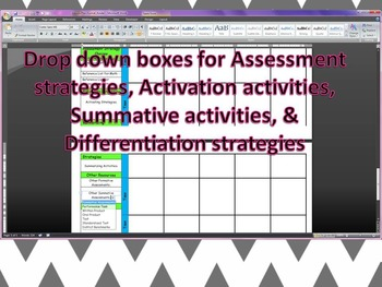 Fourth Grade CCGPS Editable Lesson Plan format with Drop Down Boxes
