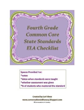 Fourth Grade CCSS ELA Checklist:  Documenting the CCSS