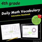 Fourth Grade CCSS Math Vocabulary Interactive Notebook
