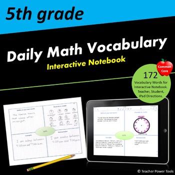 Fifth Grade CCSS Math Vocabulary Interactive Notebook
