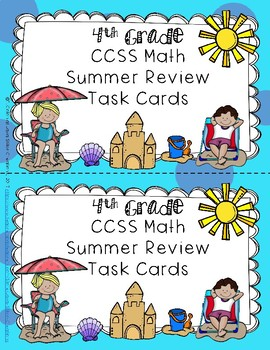 Fourth Grade CCSS Summer Math Review Packet, Task Cards, and Worksheets-60 Days!