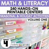 Fourth Grade Centers Math and ELA — 4th Grade YEAR LONG GROWING BUNDLE