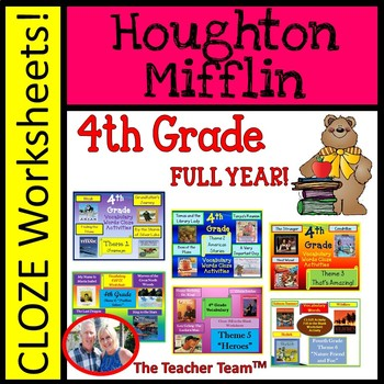 Houghton Mifflin 4th Grade Cloze Worksheet Full Year Bundle