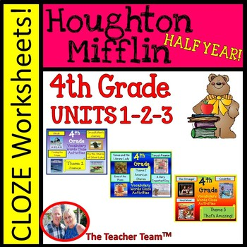 Houghton Mifflin Reading Fourth Grade Cloze Worksheet Package Themes 1-2-3