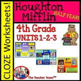 Houghton Mifflin Reading 4th Grade Worksheets Bundle Theme 1- Theme 3
