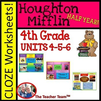 Houghton Mifflin Fourth Grade Cloze Worksheet  Half Year Package Themes 4-5-6