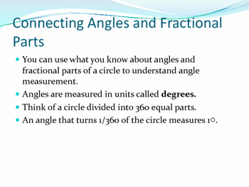 Fourth Grade Common Core Angle Unit