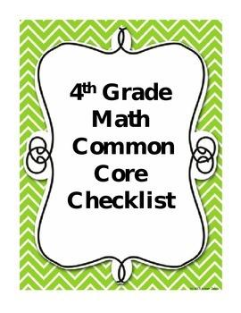Fourth Grade Common Core Checklist