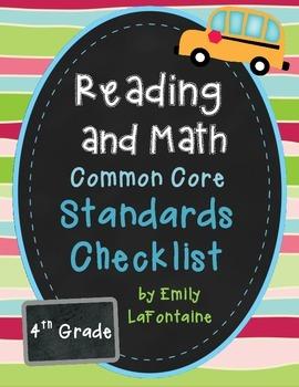 Fourth Grade Common Core Checklist - Reading and Math