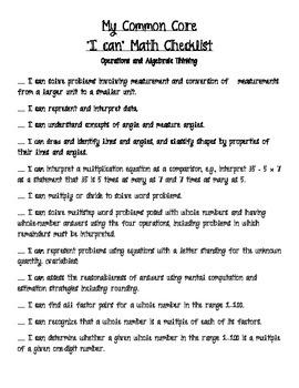 Fourth Grade Common Core Checklist for Math and ELA