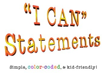 "Color-coded Fourth Grade Common Core ELA ""I Can"" Statements"