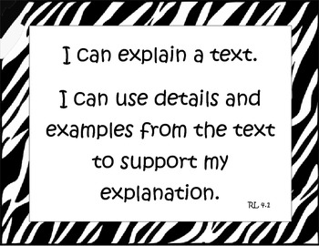 "Fourth Grade Common Core English Language Arts ""I Can"" Statements Sample"