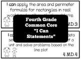 """Fourth Grade Common Core """"I Can"""" Statement Cards"""