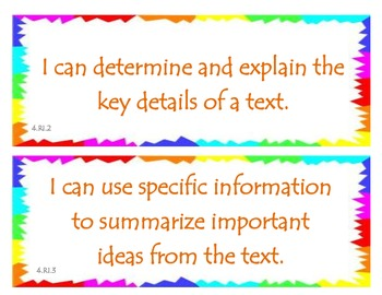 Fourth Grade Common Core I Can Statements - ELA - Informational Text