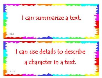Fourth Grade Common Core I Can Statements - ELA - Literature