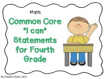 "Fourth Grade Common Core ""I Can"" Statements-Math"