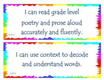 Fourth Grade Common Core I Can Statements - Reading Foundational Skills