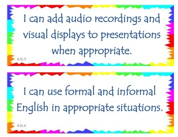 Fourth Grade Common Core I Can Statements - Speaking and Listening -- FREE!