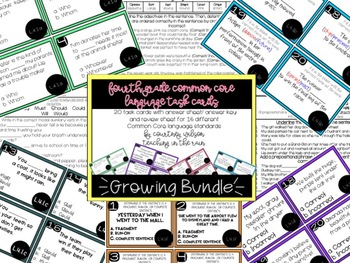 Fourth Grade Common Core Language Task Cards and Worksheets- Growing Bundle